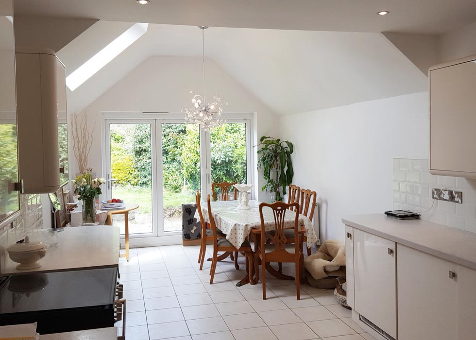 A photograph of a property with an added vaulted kitchen.